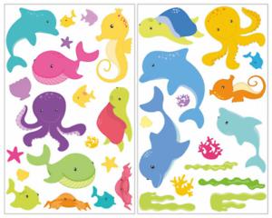 Samunshi 34-tlg Comic Fische Wandtattoo Set Kinderzimmer Baby  3 Größen