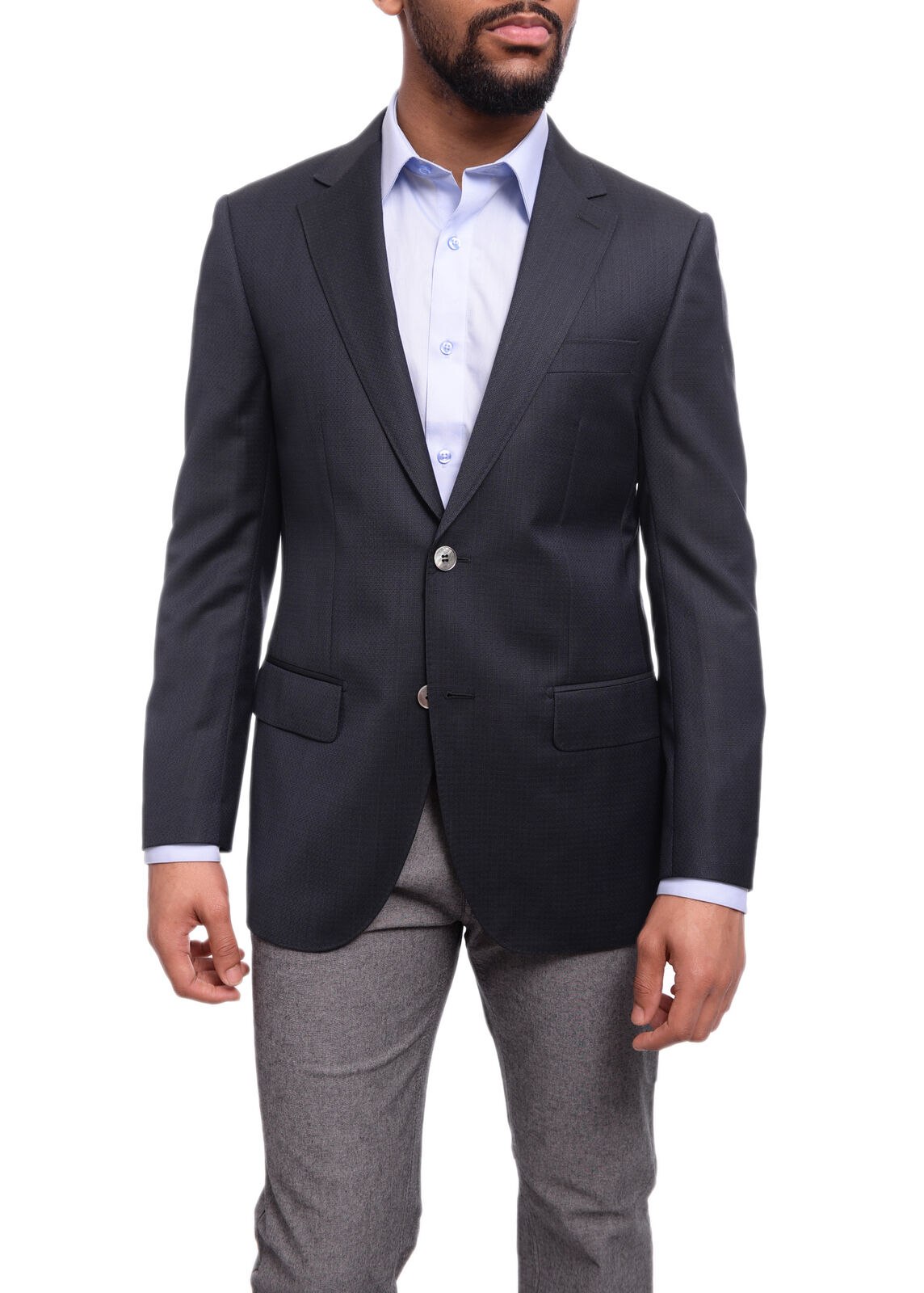 Mens 38R Napoli Classic Fit Navy Blau Basket Weave Half Canvassed rota Wool B...