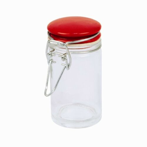 Mini Glass Storage Jar.3 Colours, Red, Black and White