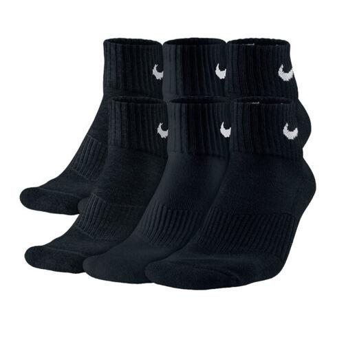 NIKE Cushion Quarter Sport-Socken SX4703 Schwarz M 38-42 Fitness Freizeit 3 Paar