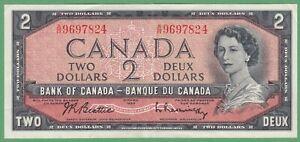 1954-Bank-of-Canada-2-Dollar-Note-Beattie-Rasminsky-A-R9697824-EF
