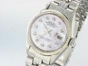 0fe0a8b1485 ROLEX LADIES OYSTER DATEJUST STAINLESS STEEL AUTOMATIC DIAMOND WATCH ...