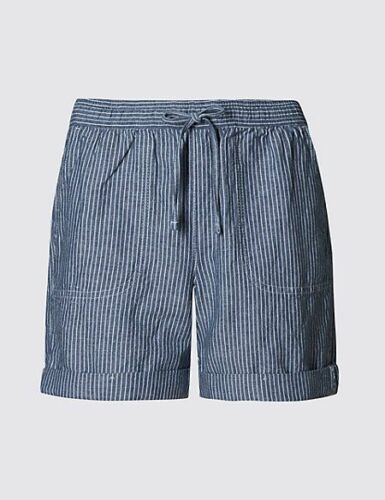 New M/&S Collection Linen Blend Blue /& White Ticking Stripe Shorts Sz UK 10