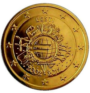 ESTONIE 2012 - 2 Euros Commemorative - 10 ANS DE L'EURO - PLAQUE OR - VERGOLDET