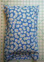 White Daisies Daisy Flowers On Blue Small Pillow Case & 1 White Travel Pillow