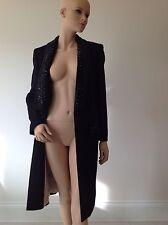 EMILIO PUCCI- UK 10-12-14  RRP £4150 -BLACK DRESS COAT-JACKET-ALPACA-WOOL-BEADED