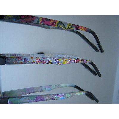 Kunststoffbrille schwarz mit blumigen Bügeln in 3 Varianten incl Sehstärke NEU