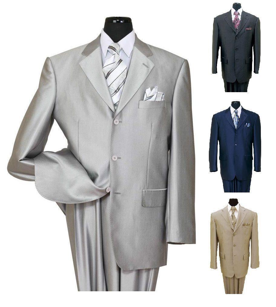 Para hombres 3 botón elegante sensación de lana Color Traje  De Aspecto Piel De Tiburón Plata 58025  en stock