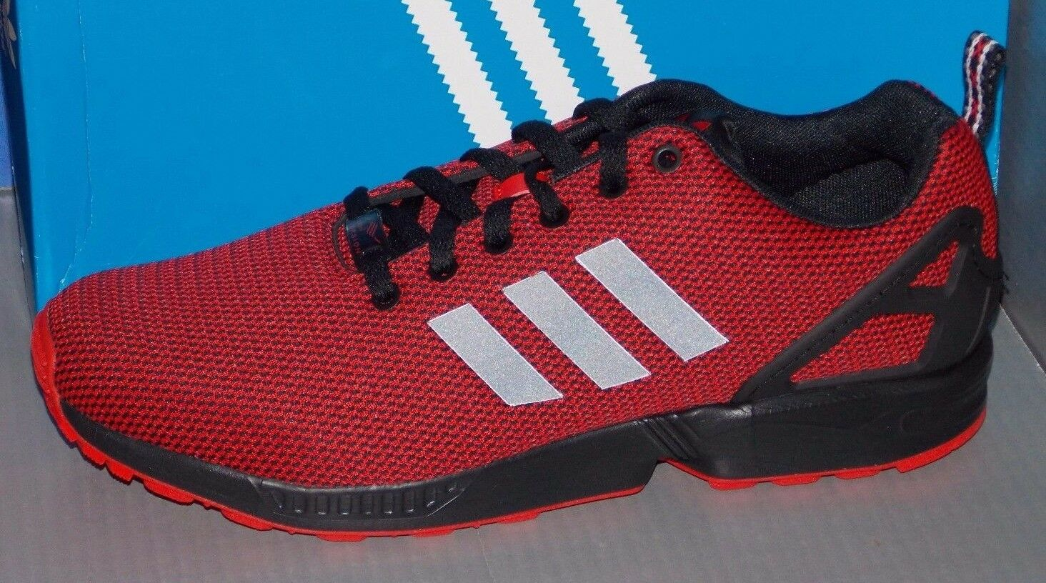 MENS ADIDAS ZX FLUX in colors RED / BLACK / GRANITE SIZE 11.5