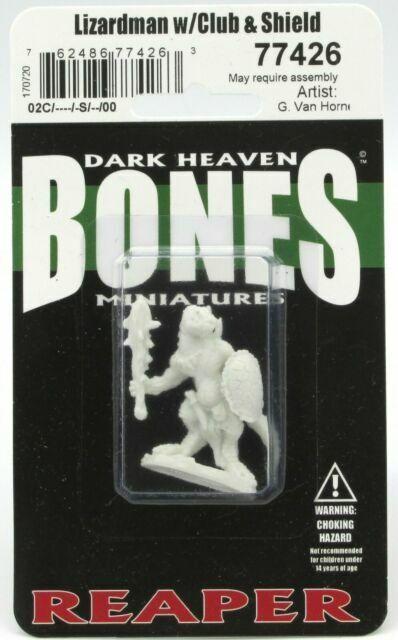 Bones DHL Reaper Miniatures Lizardman w// Club and Shield 77426