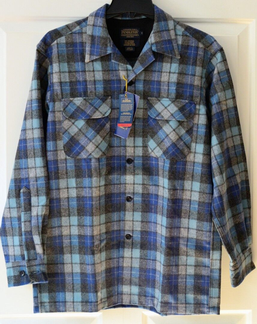 NWT Pendleton Mens Small Board Shirt 100% Washable Wool bluee Grey Plaid
