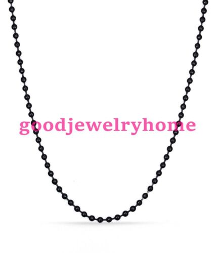 """1.5-12mm 7/""""-40/"""" Stainless Steel Black Tone Bead Ball Chain Mens Women/'s Necklace"""