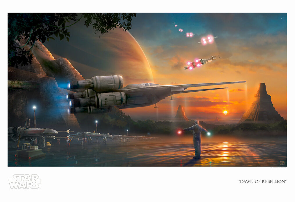 X-Wing U-Wing Yavin IV Sunset Star Wars Rebels Rogue One kunstwork Giclée on Paper