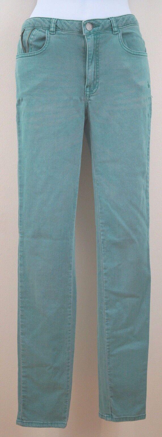 STORM & MARIE Pale Mint Green Zip Detail Faded Distressed Skinny Jeans Sz 28