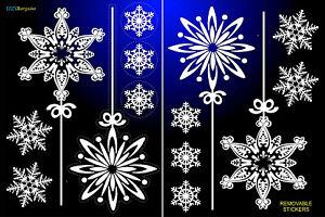 14-Fiocchi-Di-Neve-Adesivi-Natale-Rimovibile-CASA-FINESTRA-DECORAZIONI-ARREDAMENTO-REGALO