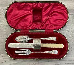 Antique Sterling Silver Hallmarked 1900 Christening Set John Round
