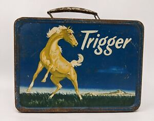Vintage Trigger Metal Lunch Box Roy Rogers Collectible 1956