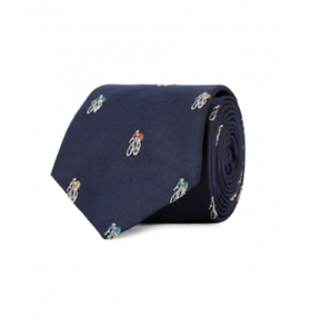 Paul Smith Tie BNWT Cyclist Embroidery Silk Tie British Collection RRP:£90