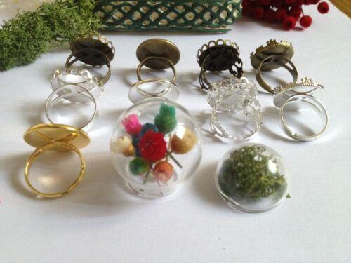 10 DIY Glass bottle Silver Tone Adjustable Ring Clear Glass Terrarium Half Globe
