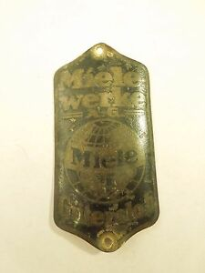 Details About Vintage Miele Werke Gutersloh Head Badge Bicycle Emblem