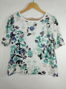 CROFT-amp-BARROW-Womens-XL-Multicolor-Floral-Print-Short-Sleeve-Knit-T-Shirt