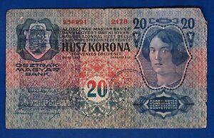 Austria-banknotes-20-Korona-1913-handstamp-CITTA-DI-FIUME-Consiglio-Nazionale