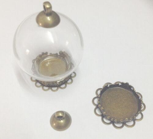 5 Handcraft verre Souhaitant Bouteille Collier pendentif globe Médaillon Charme Wide Mouth