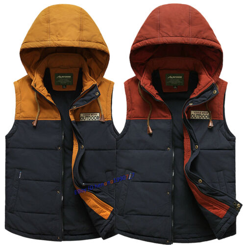 Men/'s Warm Cotton Vest Jacket Coat Sleeveless Thick Outwear Waistcoat Sports New