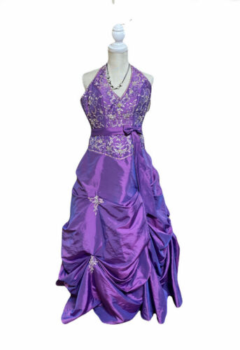 prom pageant beaded Ball gown  dress purple multi