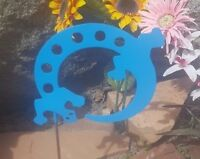 Lizard- Southwestern Garden Yard Art W/ Detachable Stake, Oasis Blue Finished