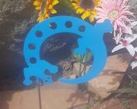 Lizard- Southwestern Garden Yard Art W/ Detachable Stake, Oasis Blue Finished