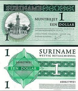SURINAM SURINAME 1 DOLLAR 2004 UNC P-155