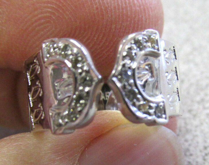 Cartier 18k White gold   Double C  Diamond  Ring size 4 or 47 Euro   Make Offer