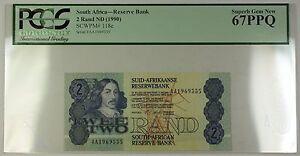 (1990) No Date South Africa 2 Rand Bank Note SCWPM# 118e PCGS GEM 67 PPQ