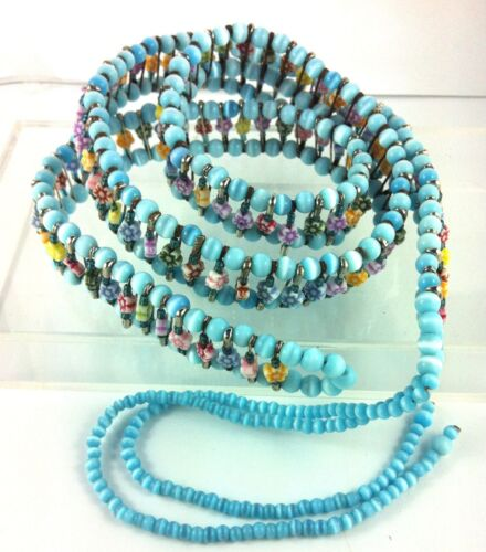 Tie Belt Cosplay 60/'s Wrap Aqua Tigers Eye Beads Flowers Surf Gypsy Hippy 83cm