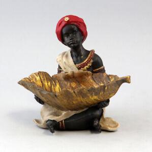 9937058-Figur-Skulptur-Resin-Mohr-mit-Blattschale-H15cm