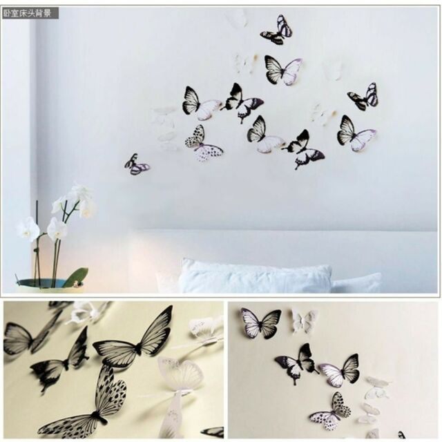 18pcs Pvc Diy Butterflies Home Room Decor 3d Butterfly Wall Stickers