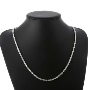 18K-White-Gold-Plated-Rope-Twist-Necklace-Chain-For-Women-Men-3mm-16-30-034