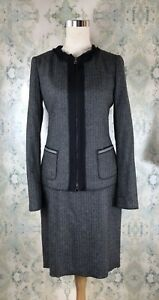 Elie-Tahari-Gray-Wool-Herringbone-Designer-Jacket-Blazer-Skirt-Career-Suit-XS