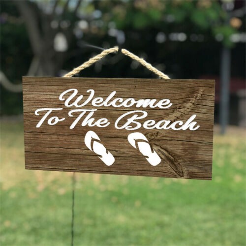 Welcome To The Beach Sandals Hanging Wood Plaque Wall Sign 12x6