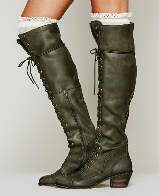 Retro donna Leather Block Mid Heels Knee High Riding stivali Lace Up scarpe Zip