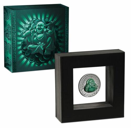 2019 Tuvalu Laughing Buddha 1 oz Silver Antiqued $1 Coin BU OGP SKU59238