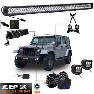4 LED Light bar PodsMount BracketWire52light bar For Jeep