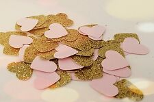 Pink and Gold Heart Confetti-100 pieces-  Great for Parties, Valentines Day