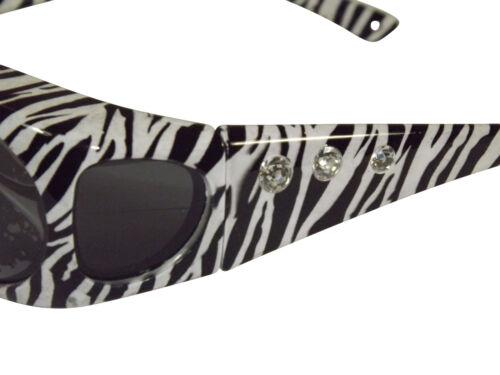 Sonnen-Überbrille Zebra mit Strass UV400 Polarisiert für Brillenträger Polbrille