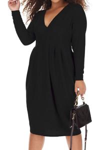 Schmeichelhaft Simply Be funkelnd Glitzer schwarz Kleid Plunge Ausschnitt Bnwt Party Größe 22