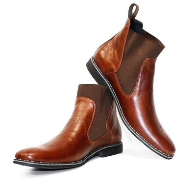 Handmade Colorful Italian Leather Shoes High Boots Brown Modello Larotte
