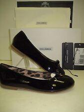 $450 NIB Dolce&Gabbana D&G Big Girls Youth US 2 Black Leather Flats Ballet Shoes