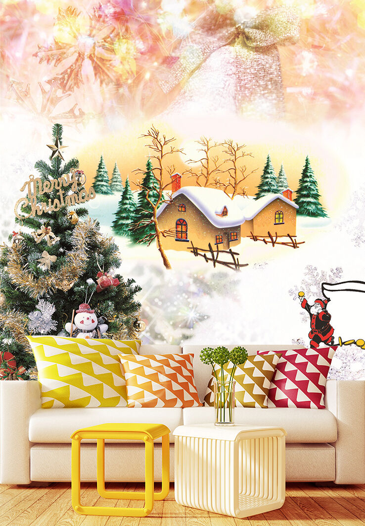 3D Christmas tree Snow village WallPaper Print Decal Wall Deco Indoor wall Mural