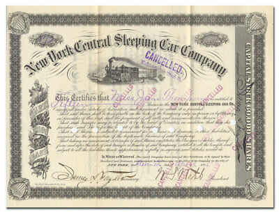 New York Central Sleeping Car Company Stock Certificate Signed by William Webb